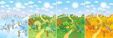 Cuatro estaciones. Concepto de ciclo de vida en la naturaleza. Las imágenes de hermosos paisajes naturales en otro momento del año - primavera de invierno, verano, otoño. Ilustración vectorial