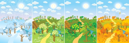 Four seasons. Concept of life cycle in nature. Images of beautiful natural landscapes at different time of the year - winter spring, summer, autumn. Vector illustration Vector