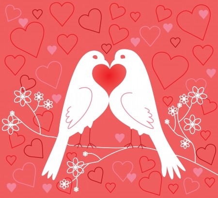 lovebirds: Lovebirds. Valentines Day. Vector illustration