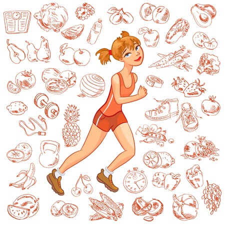 watermelon woman: Young woman jogging. Health and fitness. Vector illustration. Isolated on white background