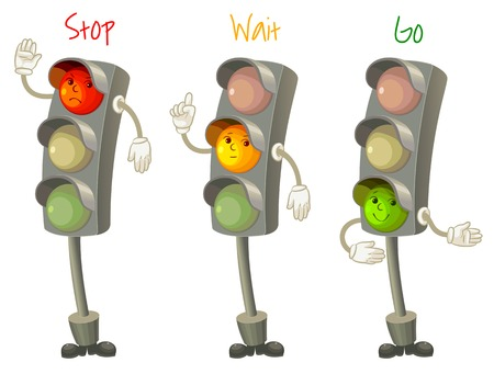 regulate: Traffic light. Follow the rules of the road. Rules for pedestrians. Vector illustration. Isolated on white background