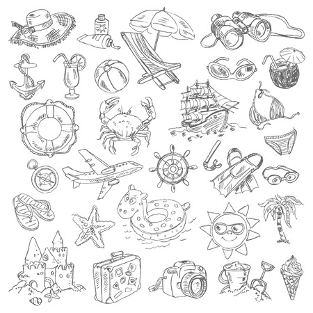 Freehand drawing summer vacation on a sheet of exercise book. Vector illustration. Set Stock Vector - 24751011