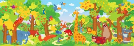 Animales del parque zoológico. Ilustración vectorial