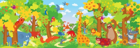 illustration zoo: Cute zoo animals. Vector illustration