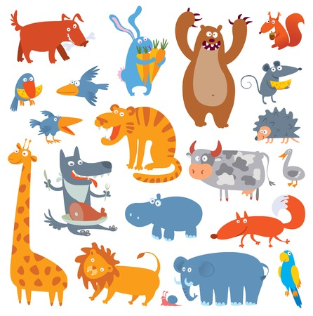 Cute zoo animals. Vector illustration. Isolated on white background. Set Vector