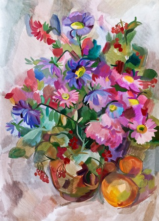 Still life a bouquet of flowers. Hand-drawn in gouache photo