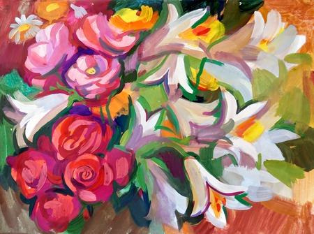 静物画花の花束を。手描きのガッシュで 写真素材