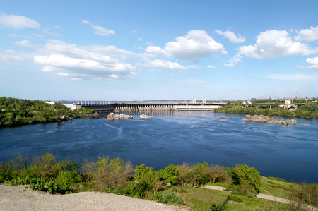 View on the water-power plant dam and river Dnipro from the Khortytsya island photo