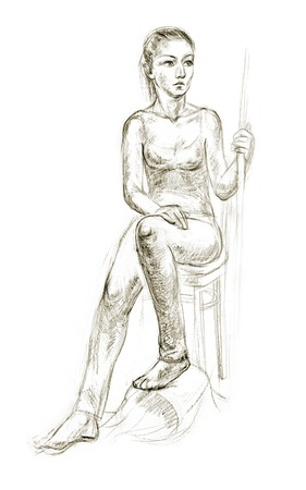 vintage anatomy: Academic figure drawing of a young girl. Hand-drawing in pencil