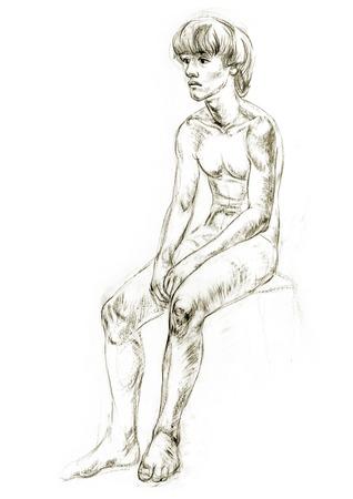 nude boy: Academic Figur Zeichnung Jungen. Hand-Zeichnung in Bleistift