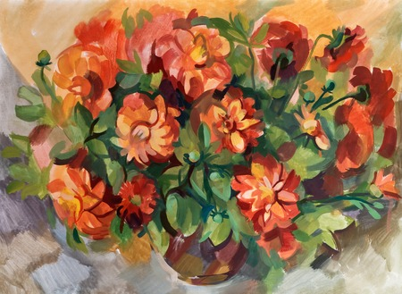 smeared: Still life a bouquet of flowers. Hand-drawn in gouache Stock Photo