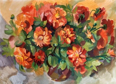 gouache: Still life a bouquet of flowers. Hand-drawn in gouache Stock Photo