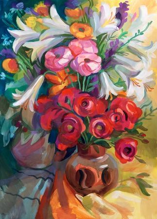 Stilleven van een boeket bloemen. Handgetekende in gouache