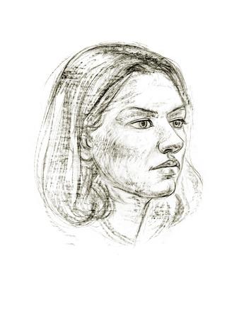 Portret van een meisje met een potlood. Hand getekend Stockfoto