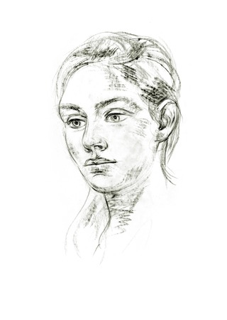 Portrait of young woman. Hand-drawing in pencil