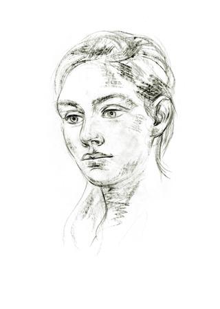 Portret van een jonge vrouw. Hand-tekening in potlood