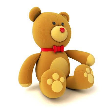 Toy teddy bear isolated on white. 3d render photo