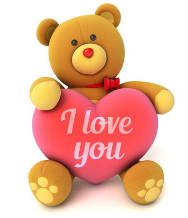 Toy teddy bear holding a heart with the words I love you. Congratulation to wedding or Valentines Day. Isolated on white background. 3d render