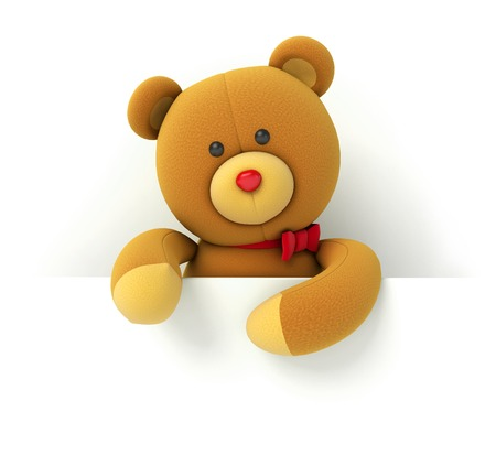 stuffed animals: Toy teddy bear holding blank board. Isolated on white background. 3d render