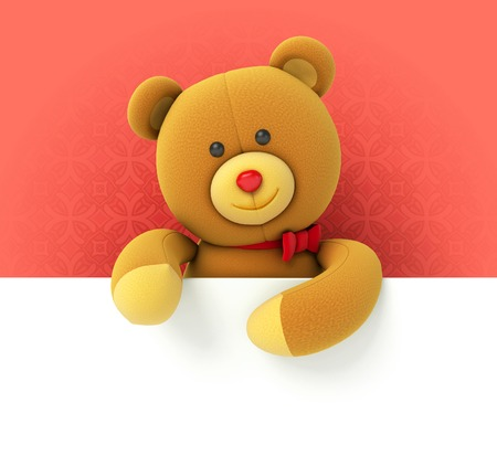 love cartoon: Toy teddy bear holding blank board. Hiding behind the corner. Funny and cute characters on a red background. 3d render Stock Photo