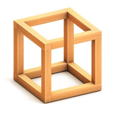 arte optico: Cubo imposible. Ilusión óptica. Figura geométrica Imposible