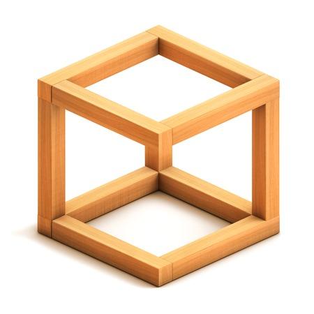 착시. 불가능 기하학적 그림. 나무 상자. 흰색 배경에 고립입니다. 3d 렌더링 스톡 콘텐츠