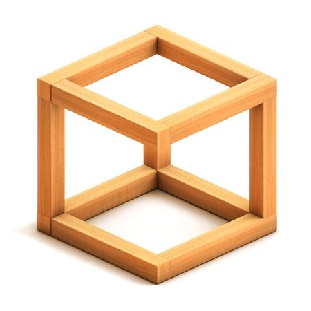 paradox: Optical illusion. Impossible geometrical figure. Wooden box. Isolated on white background. 3d render