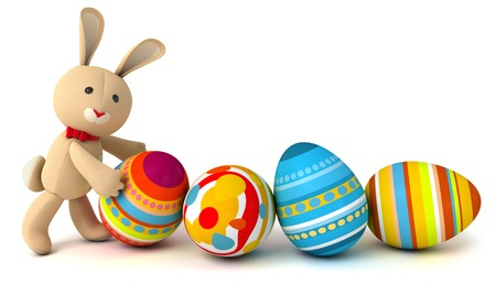 pushes: Funny toy rabbit pushes painted Easter eggs. Isolated on white background. 3d render Stock Photo