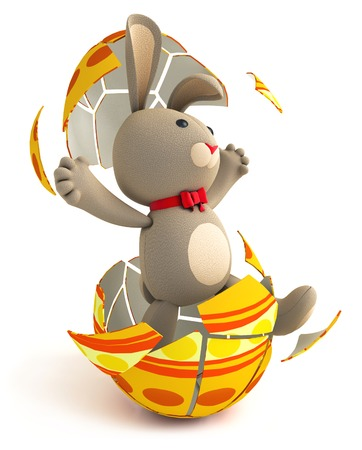 Happy Easter. Cute funny teddy bunny hatches from the Easter egg. Isolated on white background. 3d render photo