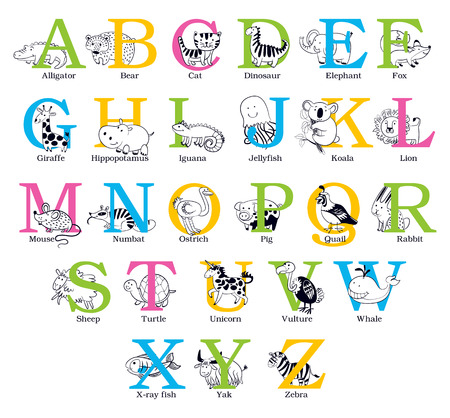 dinosaurs: Cute animal alphabet. Funny cartoon character. Vector illustration. Isolated on white background. Set