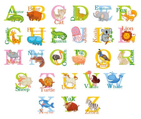 Cute animal alphabet. Vector
