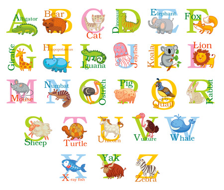 unicorn fish: Cute animal alphabet. Illustration