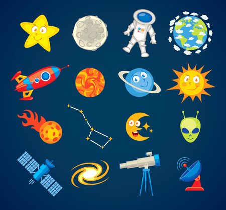 saucer: Trendy astronomy icons. Illustration