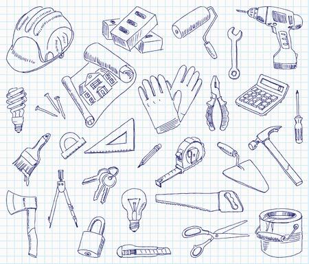 materiali edili: Disegno a mano libera materiali da costruzione su un foglio di quaderno.