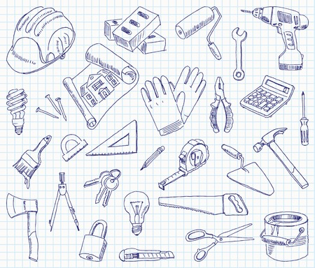 Freehand drawing building materials on a sheet of exercise book. Illustration