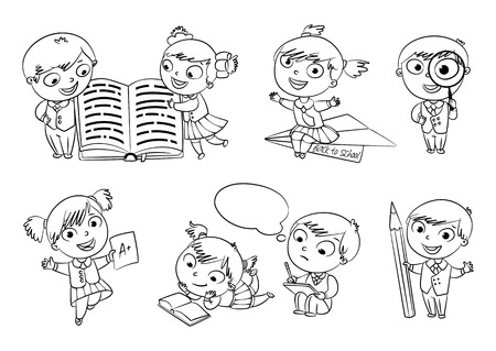 Pupils read the textbook.  Vector
