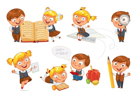 student boy: Pupils read the textbook. Illustration