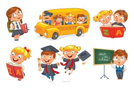 graduacion caricatura: Los alumnos de uniforme escolar.
