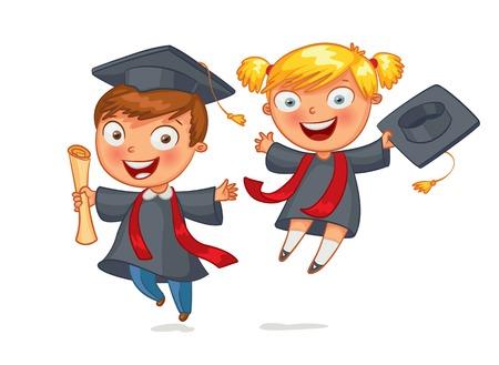 Graduate Funny cartoon character.  Illustration