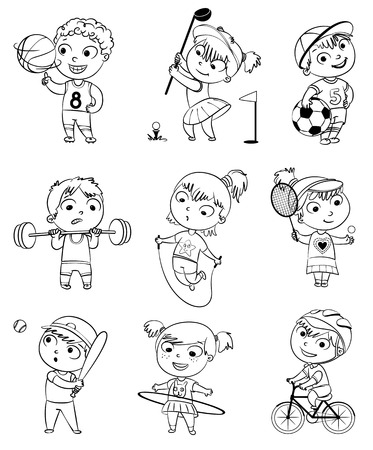golf cartoon characters: Sports and fitness.