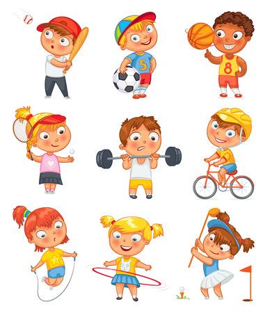 niño preescolar: Deportes y fitness. Vectores