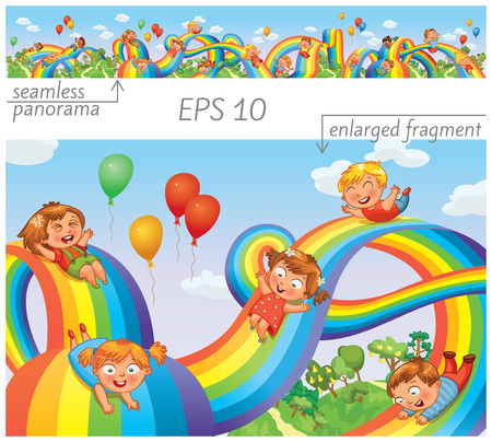 arcoiris caricatura: Los niños se deslizan hacia abajo en un arco iris. Vectores