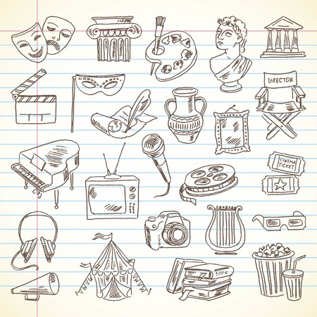Freehand drawing Culture and Art items on a sheet of exercise book.  Ilustração
