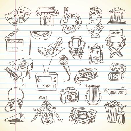 lijntekening: Tekening van de hand Cultuur en Kunst artikelen op een vel werkboek. Stock Illustratie
