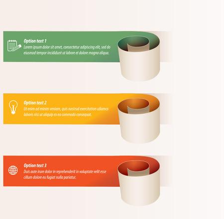 Modern paper spiral infographics options banner. Illustration