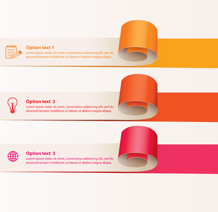 sheet menu: Set of infographics elements in the form of paper tape for various purposes.