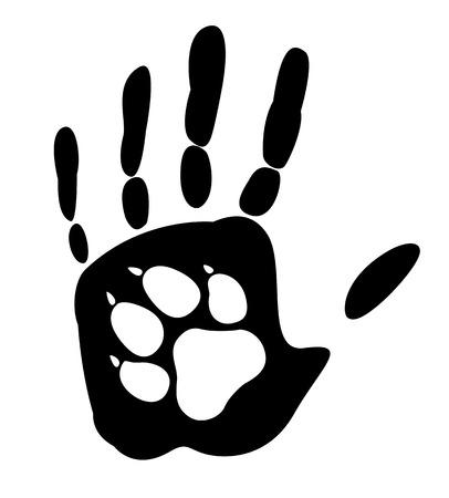 huellas de perro: Perro - el mejor amigo del hombre. Vectores