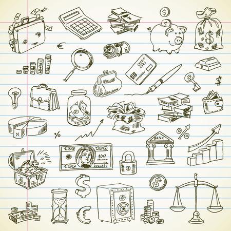 cofre del tesoro: Dibujo a mano alzada artículos Negocios y finanzas en una hoja de cuaderno. Vectores