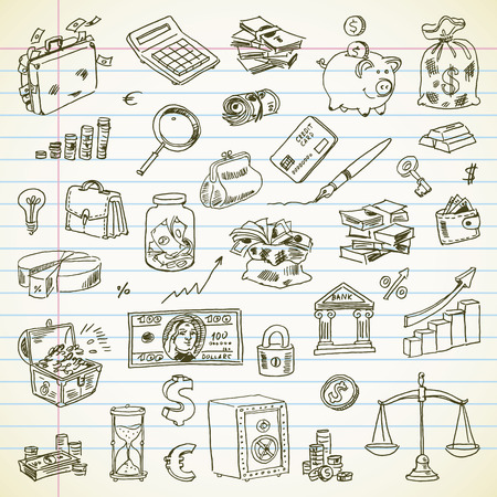 Freehand drawing Business and Finance items on a sheet of exercise book.