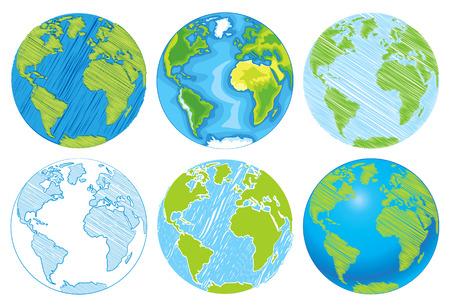 green planet: Dibujado a mano Globe.